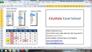 Excel Calendar March 2014 Holiday Sunday